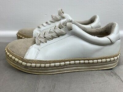 £4.99 • Buy River Island White Canvas Lace Up Trainers Flatform Shoes, Size 3