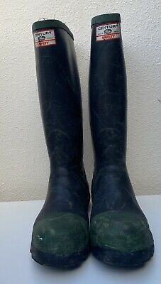 Vintage Century By Gates Safety Wellies Rubber Boots Steel Toe Green Trims 7 • 40£