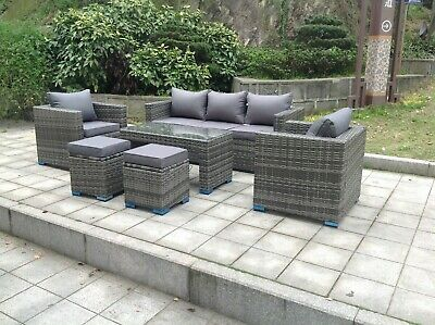 £899 • Buy Wicker Rattan Garden Furniture Sofa Sets Outdoor Patio Coffee Table With Stools