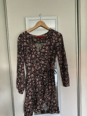 AU25 • Buy Tigerlily Long-sleeve Wrap Mini Dress. Size 8. Black With Orange And Gold Floral