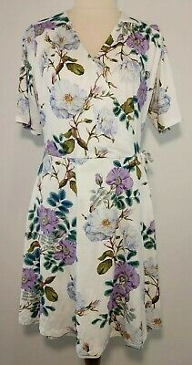 AU35 • Buy Asos Petite 16 White Purple Floral Wrap Dress Short Sleeve Stretch Fabric NWT