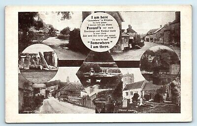 Postcard Fovant Wiltshire Stonehenge Multiview Advertising Card Type  • 6£