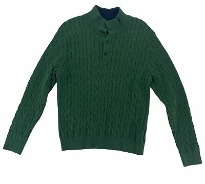 $18.99 • Buy Lands End Mens Green Mock Neck Collared Front Button Pullover Sweater Size M
