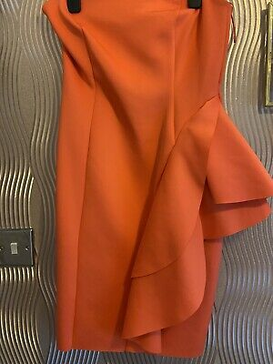 Pink Coral Strapless Dress River Island Size 12 • 8.50£