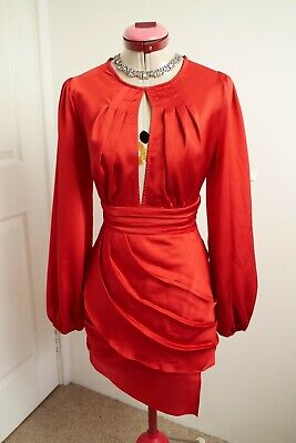 AU50 • Buy FINDERS KEEPERS Red Pleated DRESS Size 8 BNWT NEW Long Sleeve Cocktail Party Eve