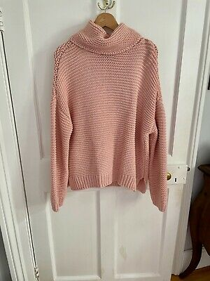 Zara Pink Chunky Knit Roll Neck Jumper. Size M (but More So L). Slouchy Comfort. • 10£