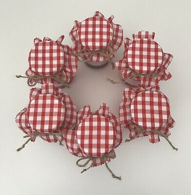 £2 • Buy 6 Homemade Red Gingham Fabric Jam Jar Covers, Labels Bands & Ties