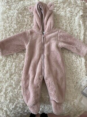 Baby Girl 0-3 Months Little White Company Fluffy Pink Pram Suit  • 6.50£