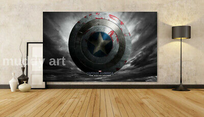 AVENGERS CAPTAIN AMERICA SHIELD ONE WALL HANGING COVER ART 30x20 Inch Canvas UK • 19.99£