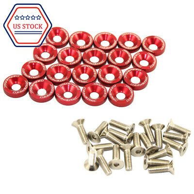 $8.86 • Buy Red Billet Aluminum Fender 20pcs/Bolt Engine Bay Dress Up Kit/Bumper Washer