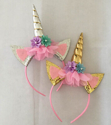 AU6.30 • Buy Girl Sequins Unicorn Horn Ear Party Hair Headband Band Hoop Kids Unicorn Party