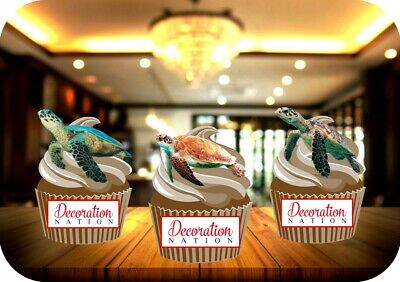£2.99 • Buy Turtle Trio Mix 12 Edible STANDUP Cake Toppers Decoration Birthday Animal Ocean
