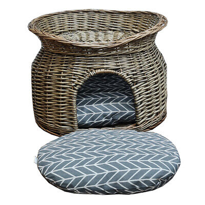 £34.99 • Buy Wicker Cat House Pet Bed Basket Kitten Tower Cozy Cave Cushions Grey UKED.