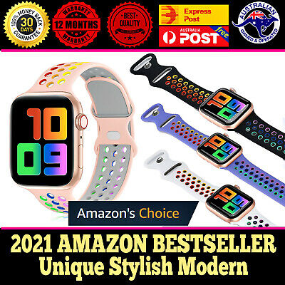 AU5.45 • Buy For Apple Watch Series 6 5 4 3 2 Silicone Strap Band Sport Rainbow 38/40/42/44mm