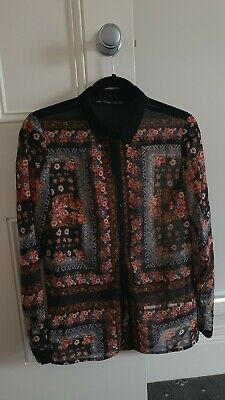 AU9.50 • Buy Preowned Zara Printed Blouse - Size M (8-10) Perfect Condition!