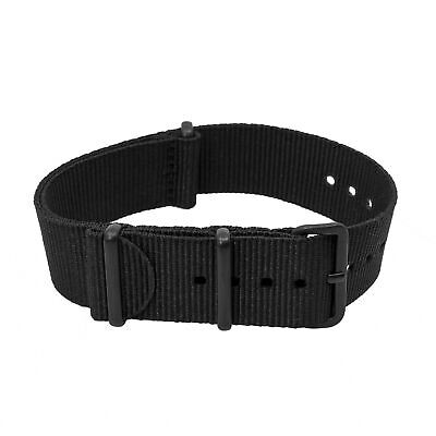 £9.95 • Buy NATO Military-Style Nylon Watch Strap In BLACK With Black PVD Buckle And Keepers