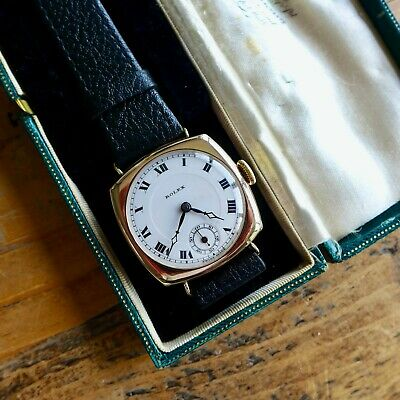 $ CDN982.45 • Buy A STUNNING GENTS VINTAGE 1920s ROLEX 9ct SOLID GOLD  CUSHION  SHAPE WRISTWATCH