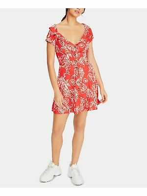 $41.99 • Buy FREE PEOPLE Womens Red Floral Short Sleeve Mini Sheath Party Dress Size: 0