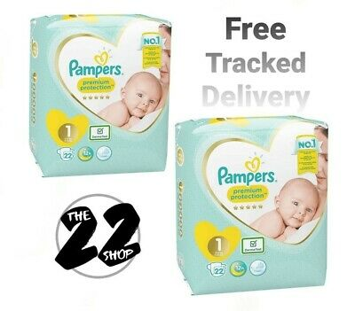 £15.95 • Buy 2 X Pampers Nappies Newborn Size 1 New Baby Premium Protection 22 (44 Nappies)