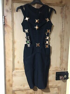 Celeb Boutique Black & Gold Bodycon Side Cut Outs Sleeveless Dress Size S/8 • 5.30£