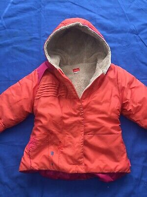 Marese Girls Orange & Pink Fur Lined Designer Hooded Coat Age 2A Size 86 Eu • 4.99£