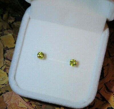 AU249.95 • Buy NEW! Untreated Natural Canary Yellow Sapphire 4mm Silver Studs + Certificate 🌟