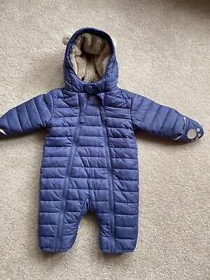 The Little White Company, 0-3 Months, Navy Lined Pramsuit, Great Condition. • 3£