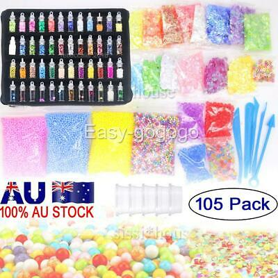 AU20.95 • Buy 105 Pack DIY Slime Making Supplies Tool Kit Beads Charms Kids Craft Toy NEW O