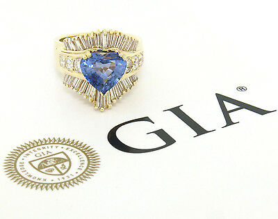 AU5424.85 • Buy 14K Yellow Gold 4.70ctw GIA Heart Cut Sapphire & Diamond Statement Cocktail Ring