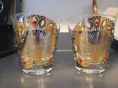 AU129.78 • Buy 2 Culver PEACOCK DOF Rocks Glasses JEWELS Signed GOLD Multi-colored