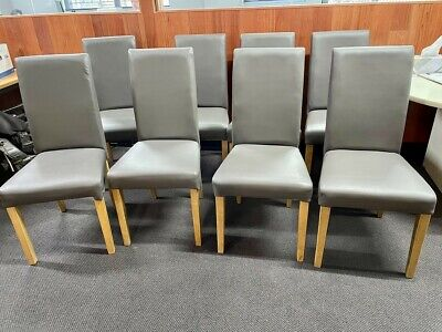 AU100 • Buy 8 Grey Synthetic Leather Dining Chairs - Recently Reupholstered To Be Like New.