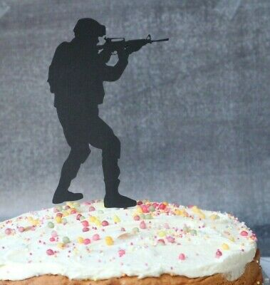 £3.50 • Buy Soldier Army Birthday Cake Topper Hand Made Black Card