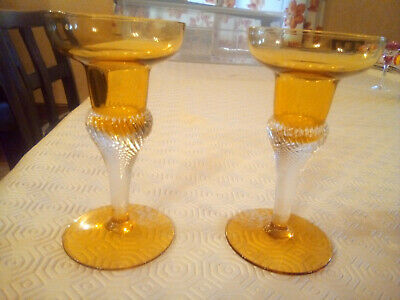 £20 • Buy Beautiful Pair Of Vintage Amber  Glass Candlesticks