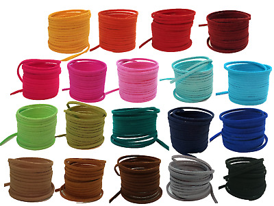 £0.99 • Buy Suede Faux Leather Cord Thong 3mm X 1,5mm Flat Jewellery Bracelet String