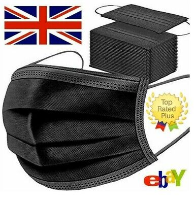 £3.94 • Buy 50 X Disposable Black Face Masks 3 Ply Dental Non Medical Surgical Mask Covering