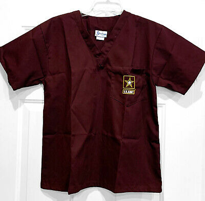 $15.49 • Buy US ARMY Military Medical Scrubs Top - Maroon Color - Size Small - NWOT