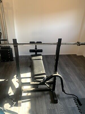 £250 • Buy Folding Weight Bench And Olympic Barrel