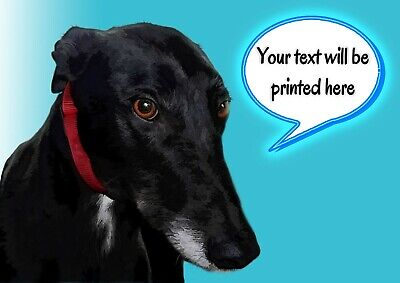 £3.99 • Buy Personalised Black Greyhound Lurcher Whippet Birthday, Any Occasion Card