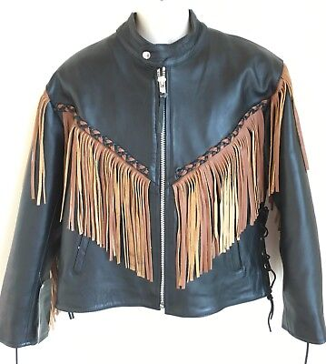 $64.97 • Buy 5 Heads Black Leather Motorcycle Jacket Mens Size M Insulated Liner Brown Fringe