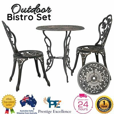 AU204.97 • Buy 3Pc Patio Bistro Set Garden Outdoor Furniture Table Chairs Setting Dining Bronze