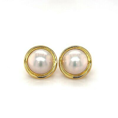 $950 • Buy Estate 18K Yellow Gold Mabe Pearl Earring