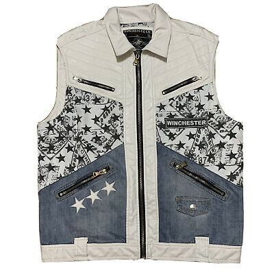 £61.46 • Buy Rare  Mens Winchester Co. American Legend White Leather Zip Up Vest USA Flag