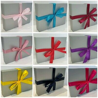 £4.49 • Buy 🎁 Silver A4 A5 A6 Flat Pack Gift Box With Your Choice Of Ribbon Colour 🎀