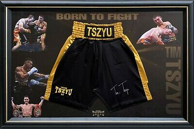 AU695 • Buy Tim Tszyu Hand Signed Boxing Trunks Framed Online Certificate Of Authenticity