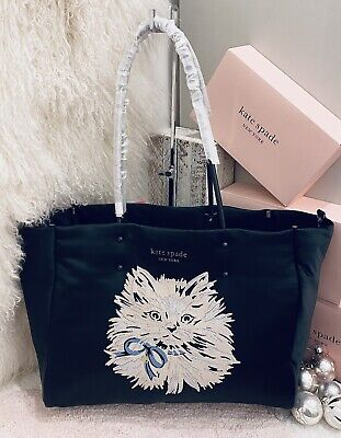 $ CDN436.11 • Buy NWT Kate Spade Pretty Kitty Cat Everything Tote, Large Puffy White Cat Shoulder