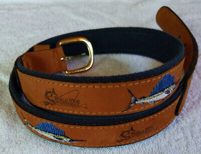 $14.99 • Buy Worldwide Sportsman Sailfish Brown Leather Blue Embroidered Belt Size 32