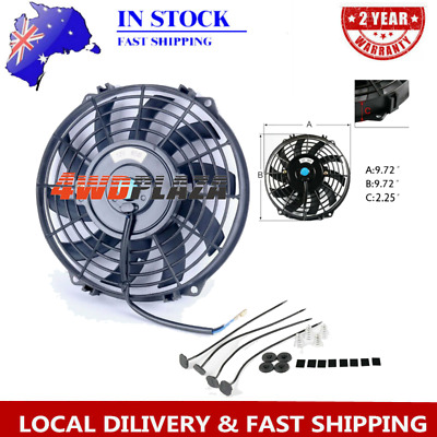 AU39 • Buy UNIVERSAL 9''PULL PUSH RADIATOR Curved Blade Electirc Thermo FAN +MOUNTING KITS