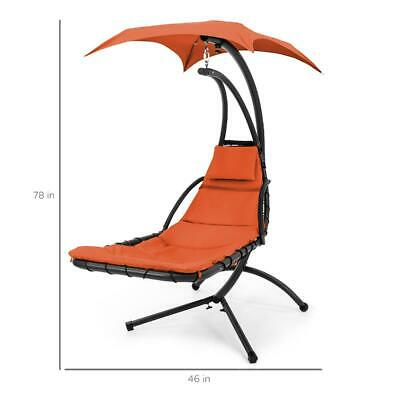 £198.94 • Buy Hanging Curved Chaise Lounge Chair Swing Patio With Pillow Canopy Stand NEW
