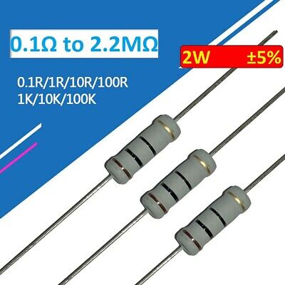$7.52 • Buy 200pcs 2W Carbon Film Resistor ±5% 107 Values Available Range 0.1Ω To 2.2MΩ