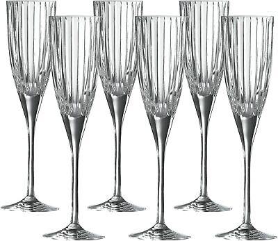 £44.95 • Buy Royal Doulton Linear Crystal Champagne Flutes Glass Set Of 6  -  Brand New Boxed